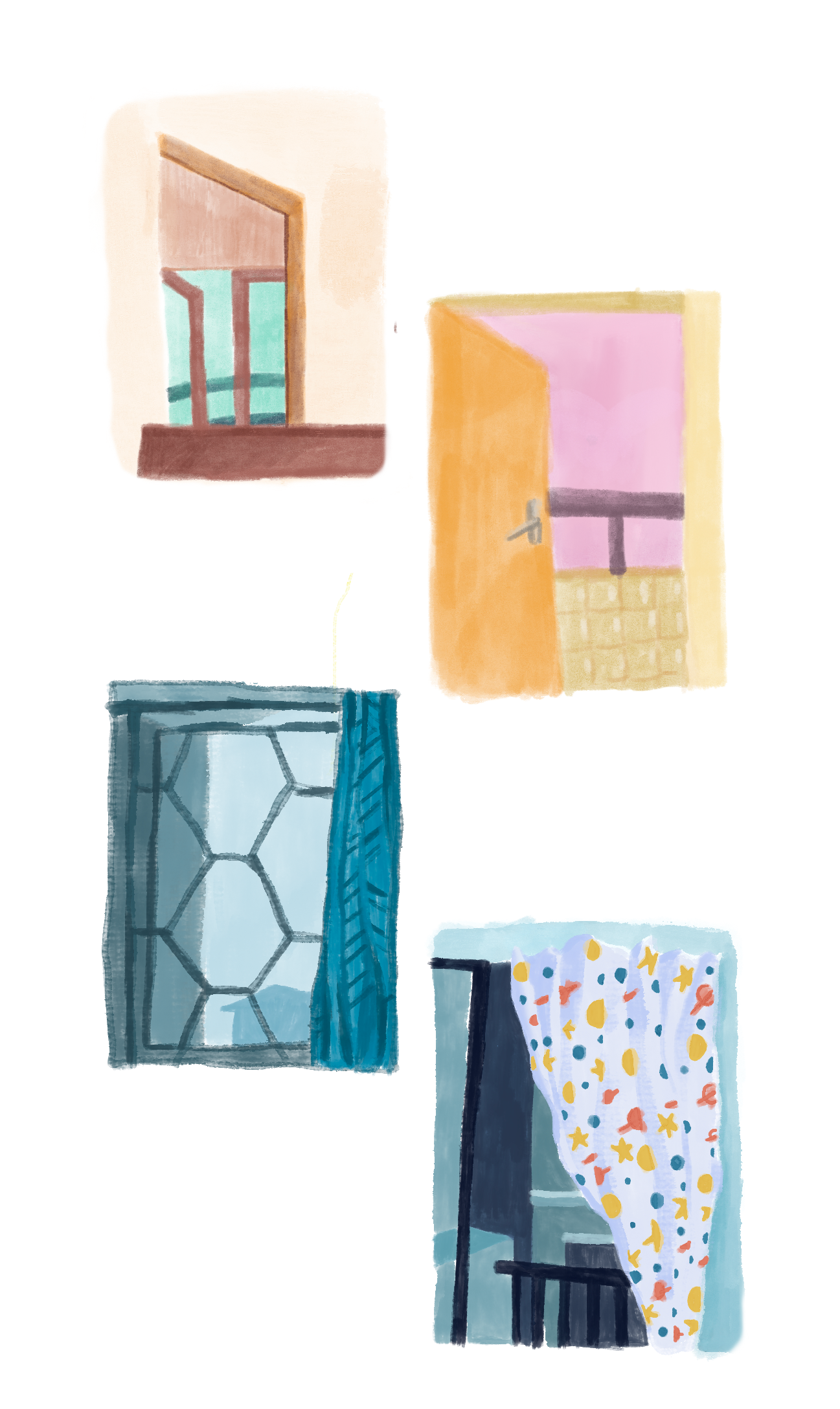 some paintings of windows